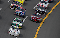 Apr 26, 2008; Talladega, AL, USA; NASCAR Nationwide Series driver Brad Keselowski (88) leads the field during the Aarons 312 at the Talladega Superspeedway. Mandatory Credit: Mark J. Rebilas-