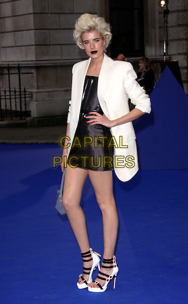 AGYNESS DEYN .Royal Academy of Arts Summer Exhibition Preview Party at the Royal Academy, Piccadilly, London, England. June 3rd, 2009..full length white boyfriend blazer jacket hand on hip blue bag handbag black dress christian louboutin shoes sandals buckles strappy platform .CAP/AH.©Adam Houghton/Capital Pictures