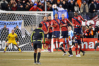 United States wall on a free kick. The United States (USA) and Argentina (ARG) played to a 1-1 tie during an international friendly at the New Meadowlands Stadium in East Rutherford, NJ, on March 26, 2011.