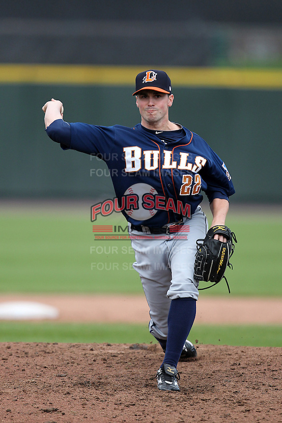 Durham Bulls pitcher Brandon Gomes #22 delivers a pitch during a game against the Empire State Yankees at Frontier Field on May 13, 2012 in Rochester, New York.  Durham defeated Empire State 3-1.  (Mike Janes/Four Seam Images)