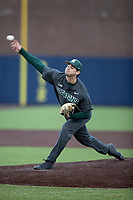 Michigan State Spartans pitcher Sam Benschoter (8) delivers a pitch to the plate in the NCAA baseball game against the Michigan Wolverines on May 7, 2019 at Ray Fisher Stadium in Ann Arbor, Michigan. Michigan defeated Michigan State 7-0. (Andrew Woolley/Four Seam Images)