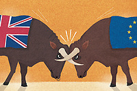 UK and European Union bulls with horns locked in conflict