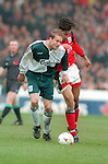 John Scales of Liverpool challenged by Jason Lee of Nottingham Forest - Premier League - Nottingham Forest v Liverpool - City Ground - Nottingham - England - 23rd March 1996 - Picture Simon Bellis/Sportimage