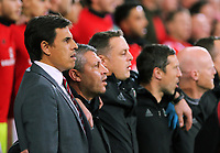 Wales manager Chris Coleman and colleagues sing the national anthem during the FIFA World Cup Qualifier Group D match between Wales and Republic of Ireland at The Cardiff City Stadium, Wales, UK. Monday 09 October 2017