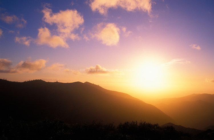 Sunset view of the San Rafael Mountains in the Los Padres National Forest, Santa Barnara County, CA.