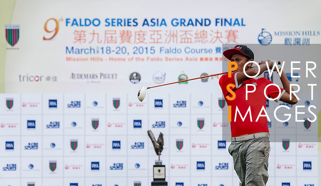 Daniel HJ Mohd Sidek of Malaysia tees off at tee one during the 9th Faldo Series Asia Grand Final 2014 golf tournament on March 18, 2015 at Faldo course in Mid Valley clubhouse in Shenzhen, China. Photo by Xaume Olleros / Power Sport Images