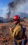 August 24, 1999 Buck Meadows, California -- Pilot Fire –  Stanislaus Hotshot Brent Kaiser monitors burnout.  The Pilot Fire burned 3,300 acres in the Tuolumne River Canyon near Yosemite National Park. The fire burned across the Hetch Hetchy power lines.