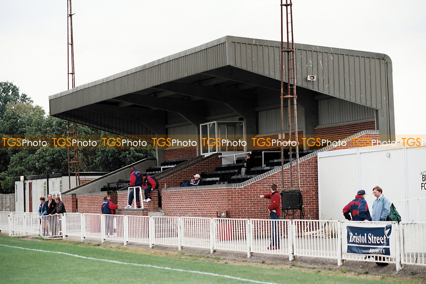 The main stand at Bromley FC Football Ground, Hayes Lane, Bromley, Kent, pictured on 30th January 1994