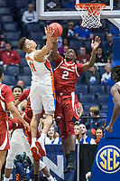 NWA Democrat-Gazette/BEN GOFF @NWABENGOFF<br /> Adrio Bailey (2), Arkansas forward, defends as Keyontae Johnson, Florida forward, shoots in the second half Thursday, March 14, 2019, during the second round game in the SEC Tournament at Bridgestone Arena in Nashville.