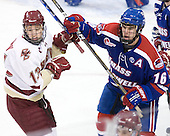 Cam Atkinson (BC - 13), Riley Wetmore (Lowell - 16) - The Boston College Eagles defeated the visiting University of Massachusetts-Lowell River Hawks 5-3 (EN) on Saturday, January 22, 2011, at Conte Forum in Chestnut Hill, Massachusetts.