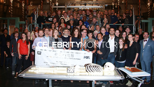 "CENTURY CITY, CA, USA - NOVEMBER 14: ""Bones"" Cast and Crew pose at FOX's 'Bones' 200th Episode Celebration With The Cast And Producers held at the Fox Studio Lot on November 14, 2014 in Century City, California, United States. (Photo by David Acosta/Celebrity Monitor)"