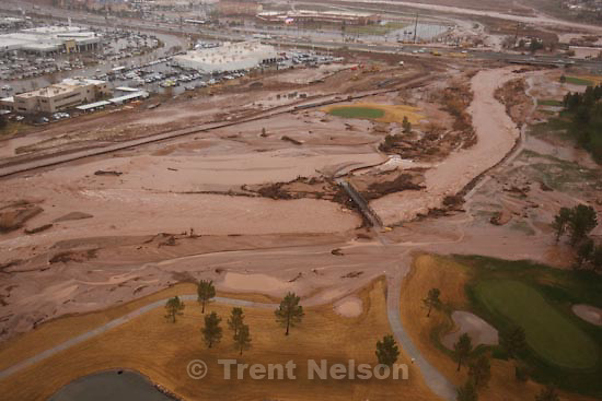 Trent Nelson  |  The Salt Lake Tribune.Aerial views of flooding in St. George, Wednesday, December 22, 2010. Southgate golf course.