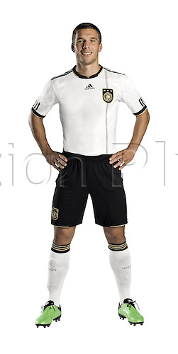 German soccer international Lukas Podolski in the new jersey of the German national soccer team for the FIFA World Cup 2010 that will take place in South Africa. Herzogenaurach, Germany. The German Football Association (DFB) and supplier adidas presented the jerseys on 10 November 2009.