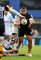 High Wycombe, England.  Zak Taulafo of London Wasps  in action during the Aviva Premiership match between London Wasps and Worcester Warriors at Adam Park on October 7, 2012 in High Wycombe, England.