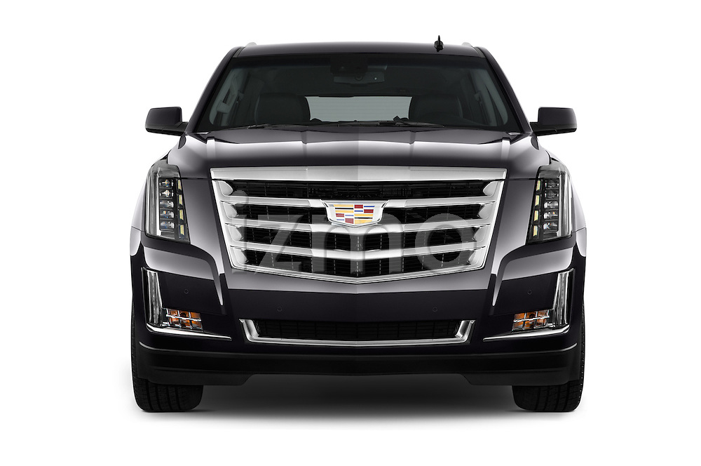 Car photography straight front view of a 2017 Cadillac Escalade Luxury 5 Door SUV Front View
