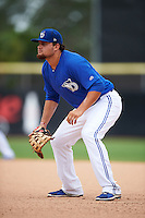 Dunedin Blue Jays first baseman Rowdy Tellez (8) during the second game of a doubleheader against the Palm Beach Cardinals on August 2, 2015 at Florida Auto Exchange Stadium in Dunedin, Florida.  Dunedin defeated Palm Beach 2-0.  (Mike Janes/Four Seam Images)