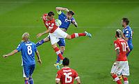 Fussball International  WM Qualifikation 2014   in Bern Schweiz - Island          06.09.2013 Granit XHAKA (Mitte li, Schweiz) gegen AronGunnarsson (Island)