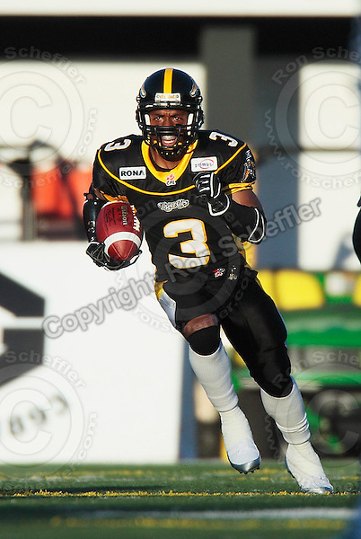 Aug 3, 2007; Hamilton, ON, CAN; Winnipeg Blue Bombers play the Hamilton Tiger-Cats at Ivor Wynne Stadium. The Tiger-Cats defeated the Blue Bombers 43-22. Mandatory Credit: Ron Scheffler. Pictured here is Hamilton Tiger-Cats running back (3) Corey Holmes.