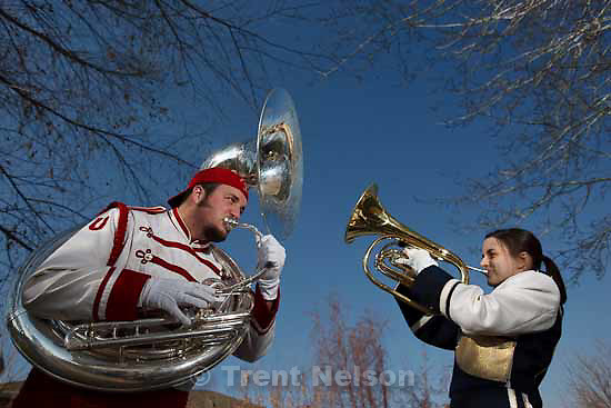 Anne Vaughn is a freshman French Horn player with the BYU band, while her brother Andrew is a senior tuba player with the Ute band, and they will be playing at the BYU game this year.  Wednesday, November 25 2009 in Centerville.