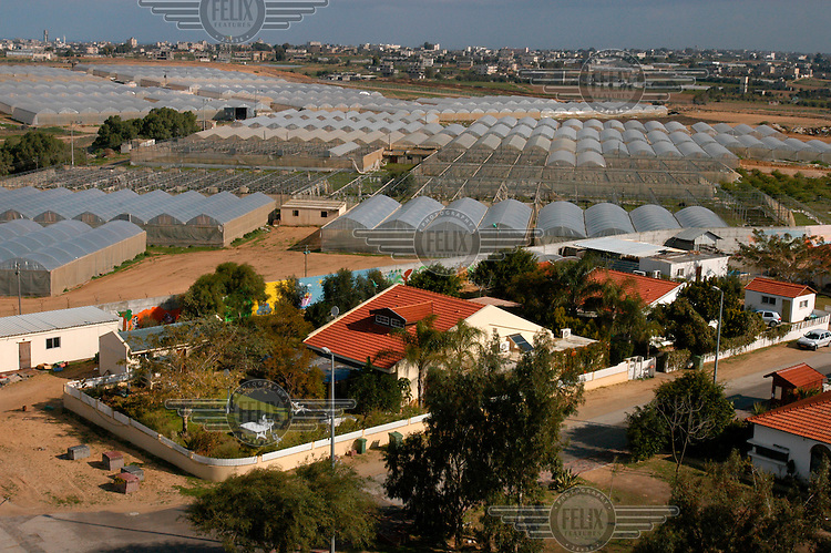 View over homes and greenhouses in the Gaza Strip Jewish settlement of Morag with the Palestinian town of Khan Younis behind. Israeli prime minister Ariel Sharon wants to withdraw from the Gaza Strip which would result in all settlers being evicted.