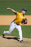 LSU Tigers /lsu36/ /del/ Auburn Tigers in the NCAA baseball game on March 24, 2013 at Alex Box Stadium in Baton Rouge, Louisiana. LSU defeated Auburn 5-1. (Andrew Woolley/Four Seam Images).