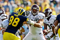 January 01, 2011:    Mississippi State Bulldogs offensive linesman Derek Sherrod (79) tries to block Michigan Wolverines linebacker Craig Roh (88 )during first half action during the Progressive Gator Bowl action between the Mississippi State Bulldogs and the Michigan Wolverines at EverBank Field in Jacksonville, Florida.