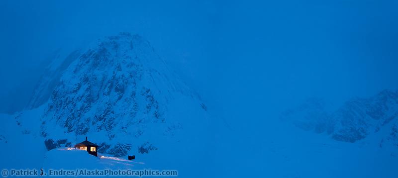 Mount Dickey, Don Sheldon mountain house in the Ruth Amphitheater, Interior, Alaska.