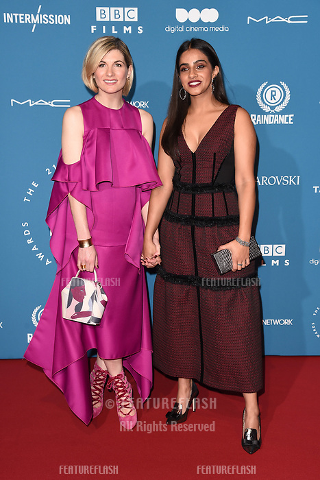 LONDON, UK. December 02, 2018: Jodie Whittaker &amp; Mandip Gill at the British Independent Film Awards 2018 at Old Billingsgate, London.<br /> Picture: Steve Vas/Featureflash
