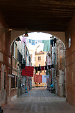 ITALY, Venice. Laundry hanging about a street in the Castello district of Venice. Castello is the largest of the six sestieri of Venice.