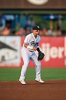 Kane County Cougars shortstop Jancarlos Cintron (1) during a game against the South Bend Cubs on July 23, 2018 at Northwestern Medicine Field in Geneva, Illinois.  Kane County defeated South Bend 8-5.  (Mike Janes/Four Seam Images)
