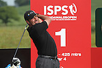 ISPS Handa Wales Open 2012.Ryder Cup captain Jose Maria Olazabal teeing off at the 1st during the Pro-Am tournament...30.05.12.©Steve Pope