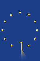 European Union flag with lit up open door and missing star
