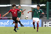 Eslern Ozturk of Turkey U21's and Mexico U21's Carlos Uriel Antuna Romero challenge for the ball during Mexico Under-21 vs Turkey Under-21, Tournoi Maurice Revello Football at Stade de Lattre-de-Tassigny on 6th June 2018