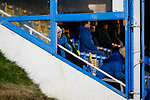 An unimpressed Stocksbridge fan in the Jamie Vardy Stand. Stocksbridge Park Steels v Pickering Town,  Evo-Stik East Division, 17th November 2018. Stocksbridge Park Steels were born from the works team of the local British Steel plant that dominates the town north of Sheffield.<br />
