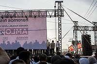 June 1, 2018: The campaign rally of Andres Manuel Lopez Obrador, an opposition candidate of MORENA party running for presidency, at streets of Jesus Maria Municipality, Aguascalientes in Mexico. National elections will be hold on July 1.