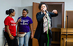 "WATERBURY,  CT-011820JS23- Mary DeLeon of Waterbury, right, being joined by her nieces Aaliyah Goodman, 13, and Ja'Nyia Goodman, 15, sing to guests, during the ""Men with a Purpose"" luncheon, a Dr. Martin Luther King, Jr. event celebrating men, Saturday at Grace Baptist Church in Waterbury. The event was sponsored by the Waterbury NAACP Youth Council.<br /> Jim Shannon Republican-American"