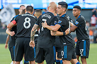 San Jose, CA - Tuesday June 11, 2019: Earthquakes players celebrate the goal of  Magnus Eriksson #7 during the US Open Cup match between the San Jose Earthquakes and Sacramento Republic FC at Avaya Stadium.