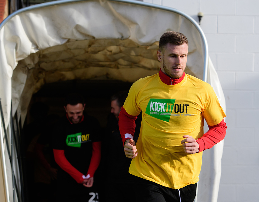 Lincoln City's Michael O'Connor during the pre-match warm-up<br /> <br /> Photographer Chris Vaughan/CameraSport<br /> <br /> The EFL Sky Bet League Two - Lincoln City v Northampton Town - Saturday 9th February 2019 - Sincil Bank - Lincoln<br /> <br /> World Copyright © 2019 CameraSport. All rights reserved. 43 Linden Ave. Countesthorpe. Leicester. England. LE8 5PG - Tel: +44 (0) 116 277 4147 - admin@camerasport.com - www.camerasport.com