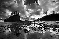 Second Beach with sunset clouds and reflection at low tide. Olympic National Park, Washington.