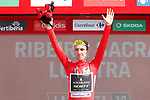 Simon Yates (GBR) Mitchelton-Scott retains the race leaders Red Jersey at the end of at the end of Stage 11 of the La Vuelta 2018, running 207.8km from Mombuey to Ribeira Sacra. Luintra, Spain. 5th September 2018.<br /> Picture: Unipublic/Photogomezsport | Cyclefile<br /> <br /> <br /> All photos usage must carry mandatory copyright credit (&copy; Cyclefile | Unipublic/Photogomezsport)