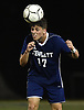 Armando Vardaro #17 of Hewlett makes a header during the second half of a Nassau County Conference A-3 varsity boys soccer game against Jericho at Hewlett High School on Wednesday, Oct. 10, 2018. Hewlett won by a score of 4-2.