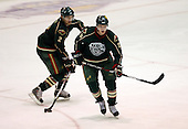 February 24th 2008:  Morten Madsen (29) of the Houston Aeros skates up ice in front of Joe Awe (2) during a game vs. the Rochester Amerks at Blue Cross Arena at the War Memorial in Rochester, NY.  The Aeros defeated the Amerks 4-0.   Photo copyright Mike Janes Photography 2008