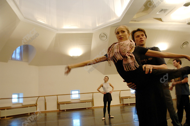 "Dancers from the Bolshoi theatre rehearsed the new ballet ""Misericors' to be premiered by the Bolshoi with its British choreographer Christopher Wheeldon in a rehearsal room in the Bolshoi Theatre, Moscow, Russia, January 25, 2007"