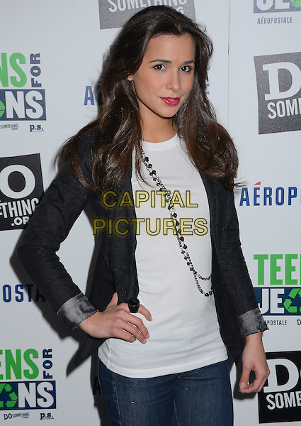 Josie Loren.DoSomething.org and Aeropostale celebrate launch of 5th Annual 'Teens For Jeans'  at Palihouse, West Hollywood, California, USA..January 10th, 2012.half length black jacket blazer white top necklace .CAP/ADM/BT.©Birdie Thompson/AdMedia/Capital Pictures.