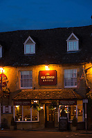 The Old Stocks Hotel restaurant and bar at famous popular tourist town Stow-on-the-Wold in the Cotswolds, Gloucestershire, UK