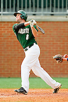 Shane Basen #8 of the Charlotte 49ers follows through on his swing against the Saint Peter's Peacocks at Robert and Mariam Hayes Stadium on February 18, 2012 in Charlotte, North Carolina.  Brian Westerholt / Four Seam Images