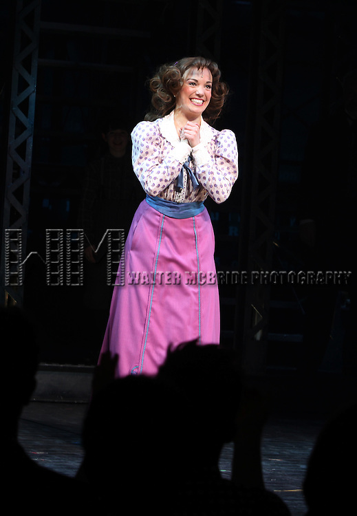 Kara Lindsay.during the 'NEWSIES' Opening Night Curtain Call at the Nederlander Theatre in New York on 3/29/2012