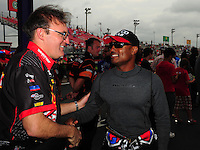 Apr. 29, 2012; Baytown, TX, USA: NHRA top fuel dragster drivers Doug Kalitta (left) and Antron Brown during the Spring Nationals at Royal Purple Raceway. Mandatory Credit: Mark J. Rebilas-