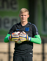 Goalkeeper Nathan Broome (Stoke City) of England U18 pre match during the Under 18 International friendly match between England U18 & Brazil U18 at Hednesford Town Football Club, Keys Park, Cannock on 8 September 2019. Photo by Andy Rowland.
