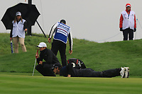 Thomas Pieters (BEL) on the 10th green during Round 4 of the Amundi Open de France 2019 at Le Golf National, Versailles, France 20/10/2019.<br /> Picture Thos Caffrey / Golffile.ie<br /> <br /> All photo usage must carry mandatory copyright credit (© Golffile | Thos Caffrey)